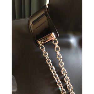 Escada Black Patent Double Chain Vintage Belt 40